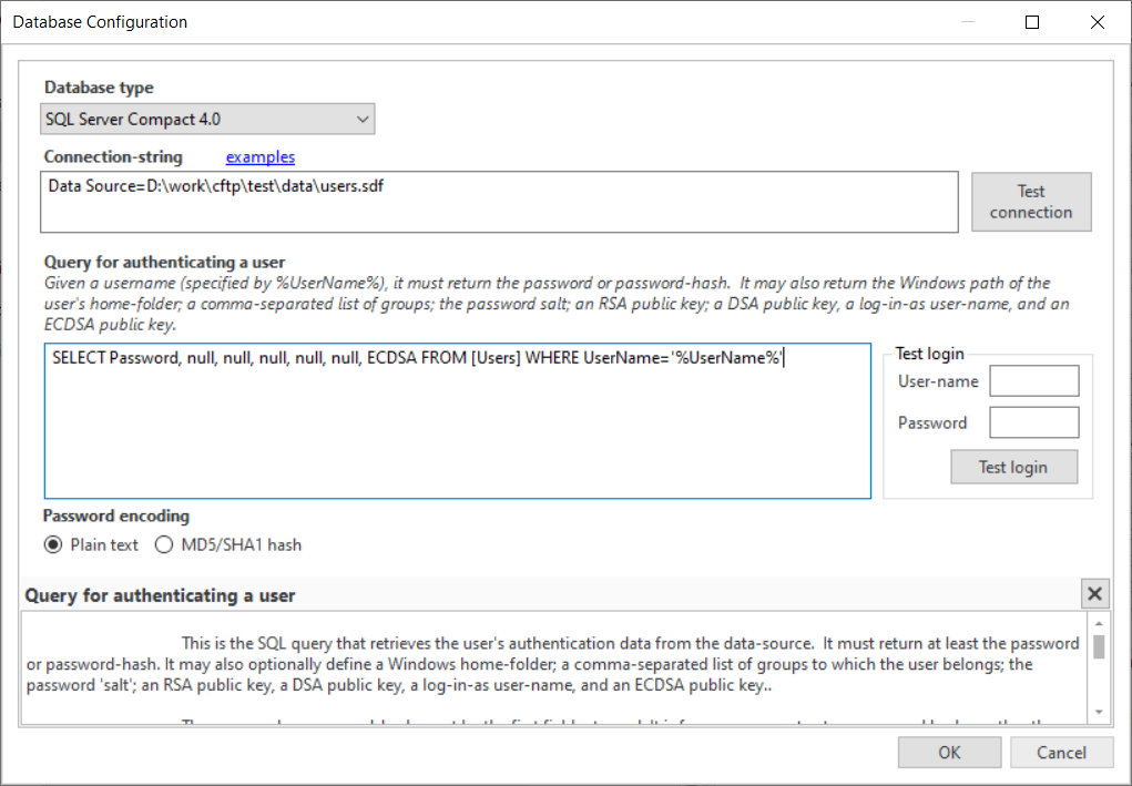 How to configure external database users